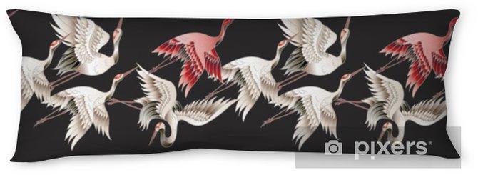 Poduszka relaksacyjna Bezszwowe granica z japońskim białym żurawiem w stylu Batik. ilustracji wektorowych. - Zwierzęta