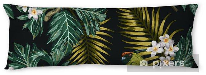 Poduszka relaksacyjna Bezszwowe tropikalny wzór z liści, kwiatów i papugi. - Zwierzęta