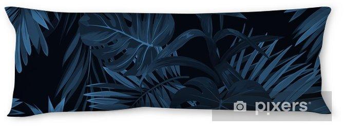 Poduszka relaksacyjna Egzotyczny tropikalny vrctor tło z hawajskimi roślinami i kwiatami. bez szwu indygo tropikalny wzór z monstera i sabal liści palmowych, kwiaty guzmania. - Rośliny i kwiaty