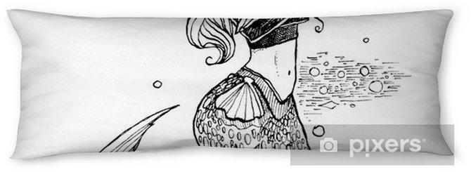 Poduszka Relaksacyjna Piękna Ręka Ilustracja Z Syreną Urocza Bajkowa Dziewczyna Z Długimi Włosami I Rybim Ogonem Może Być Stosowany Do Drukowania Na