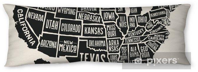 Poduszka relaksacyjna Plakat mapa Stanów Zjednoczonych z nazwami państw. czarno-biały wydrukować mapę usa na t-shirt, plakat lub motywy geograficzne. ręcznie rysowane czarna mapa ze stanami. ilustracji wektorowych - Zasoby graficzne