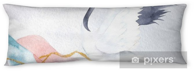 Poduszka relaksacyjna Streszczenie tło akwarela z dźwigiem. projekt japonii. ręcznie rysowane ilustracji - Zasoby graficzne