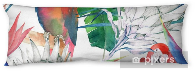 Poduszka relaksacyjna Tropikalny wzór z papugi, protea i liści. druk lato akwarela. egzotyczna ręka rysująca ilustracja - Zasoby graficzne