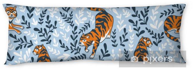 Poduszka relaksacyjna Wektor wzór z tygrysami na tle kwiatów. tło zwierzęce do projektowania tkaniny lub tapety boho. - Zasoby graficzne