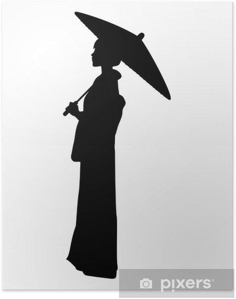 Poster 蛇 の 目 傘 を さ す 着 物 女性 の シ ル エ ッ ト 素材 - Wasser