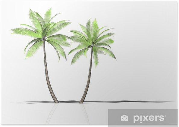 Poster 2 palmen - Wasser