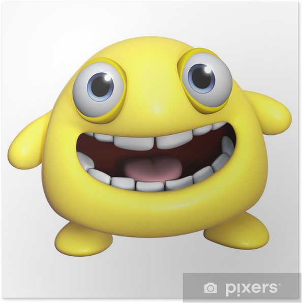 Poster 3d cartone animato mostro giallo u2022 pixers® viviamo per il