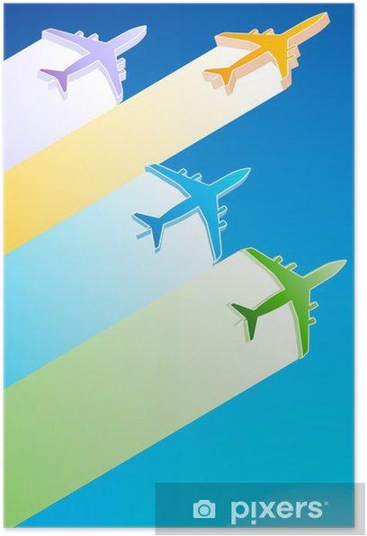 Poster 3D Flugzeuge Illustration - Luftverkehr