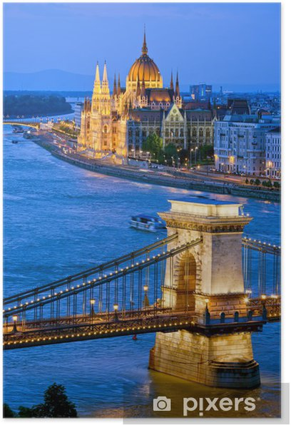 Poster Abend in Budapest - Stadt
