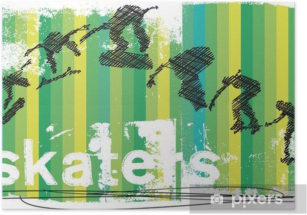 Poster Abstrakt Skateboarder Springen. Vektor-Illustration - Einzelsportarten