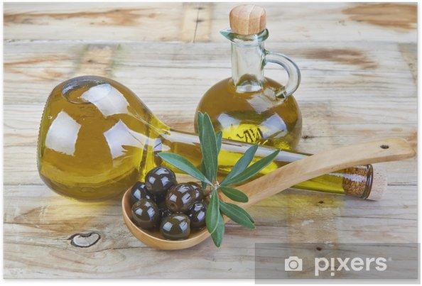 Poster Aceite de Oliva Virgen Extra y aceitunas en la mesa de la cocina