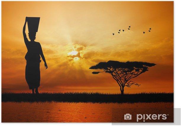 Poster Afrikanische Frau bei Sonnenuntergang - Natur und Wildnis