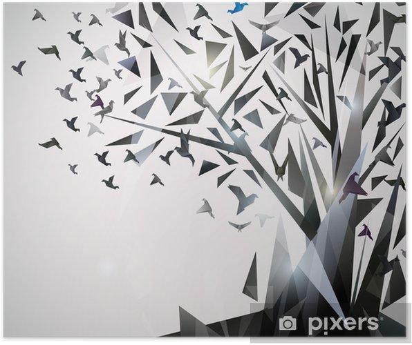 Poster Albero astratto con uccelli origami. - Temi