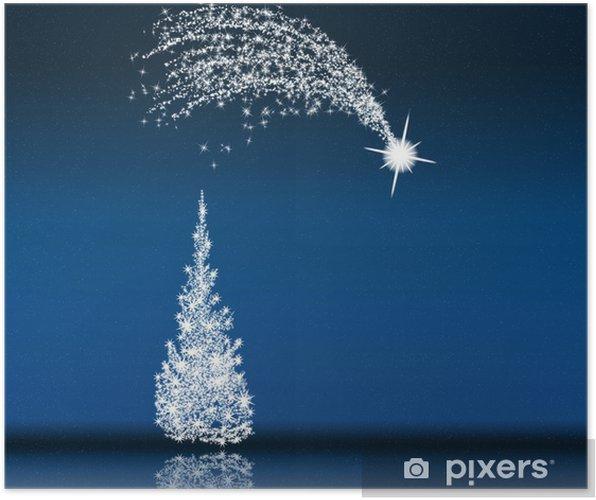 Stella Cadente Di Natale.Poster Albero Di Natale E Stella Cadente Nella Notte Blu