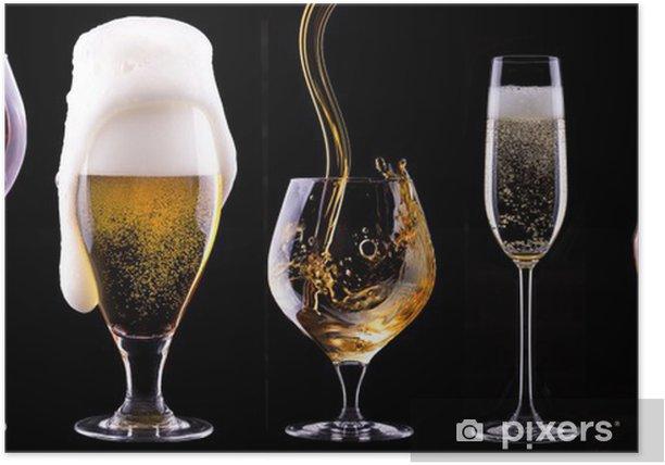 Poster Alkoholischen Getränken Set isoliert auf einem schwarzen - Alkohol