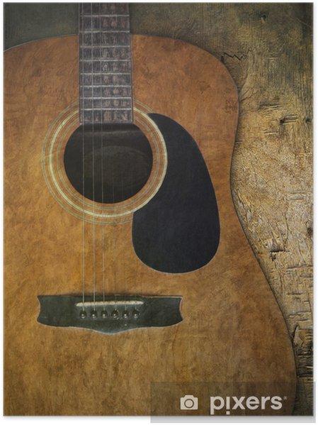 poster alte gitarre auf holz texturierte pixers wir leben um zu ver ndern. Black Bedroom Furniture Sets. Home Design Ideas
