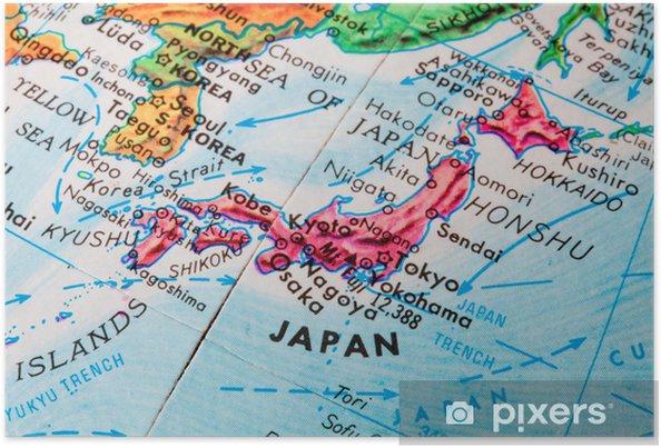 Japan Karte Physisch.Poster Alte Globus Karte Von Japan