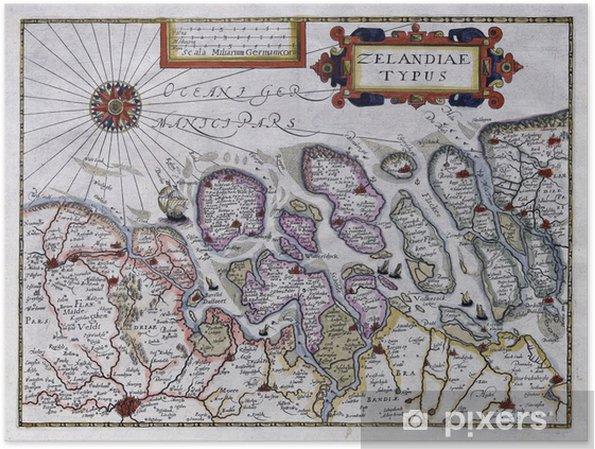 Strand Karte Zeeland.Poster Alte Karte Von Zeeland Niederlande 17 Jahrhundert