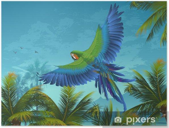 Poster Amazon. Tropical Hintergrund mit Papageien und Palmen. - Themen
