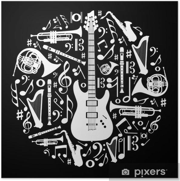 Poster Amore In Bianco E Nero Per La Musica Concetto Illustrazione
