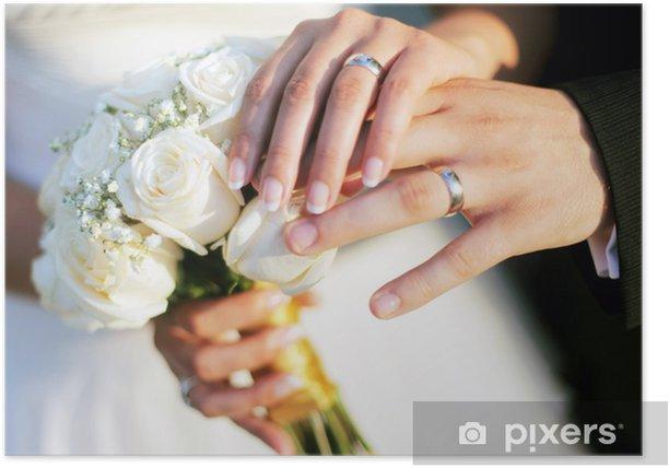 Poster Anelli di nozze e le mani - Parti del corpo