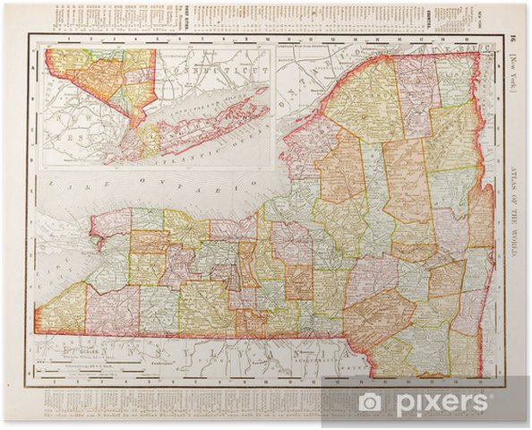 Poster Antike Vintage Color Map of New York State, USA • Pixers ...