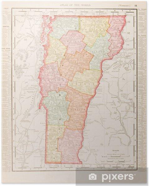 Poster Antike Weinlese-Farben-Karte von Vermont, USA USA