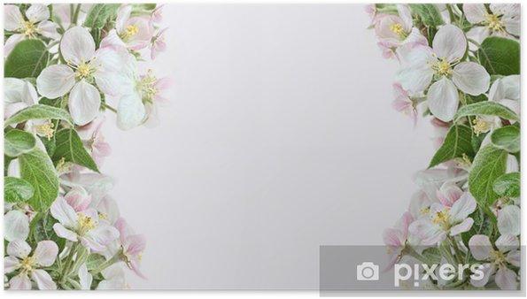 Poster Apple Blossom Bordi Su Sfondo Rosa Pixers Viviamo Per Il