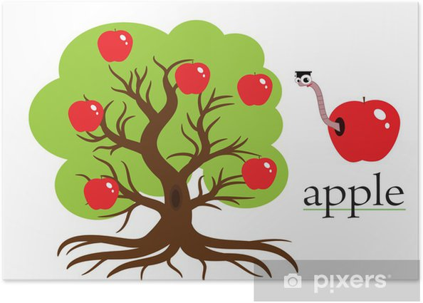 Poster Apple tree, vector. - Ausbildung