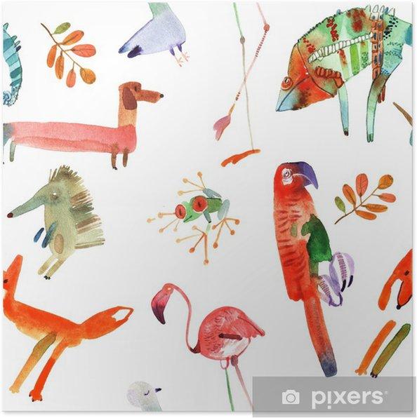 Poster Aquarell Tiere eingestellt - Tiere