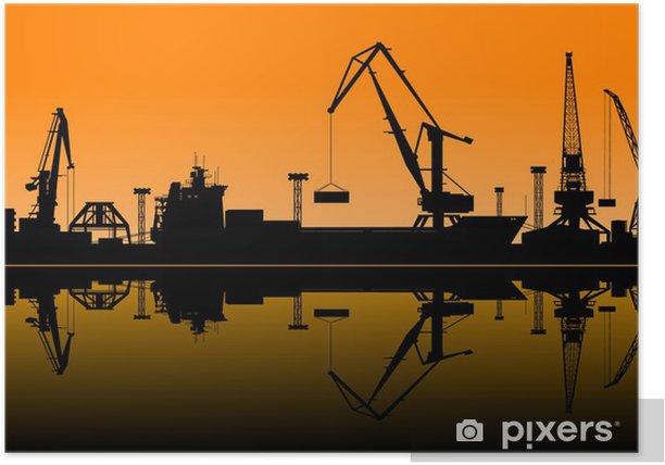 Poster Arbeiten Kräne im Hafen - Schwerindustrie