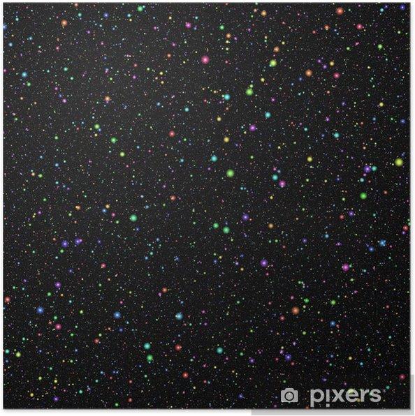 Poster Astratto Universo Colorato Luminoso Stelle Colorate