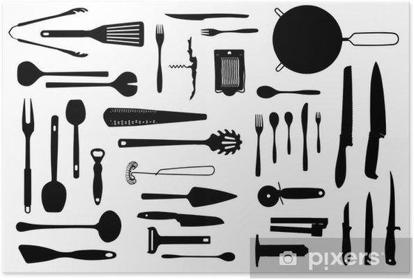 Poster Attrezzature da cucina e posate sagoma set • Pixers ...
