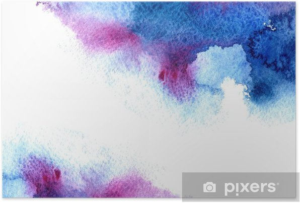 Poster Autoadesivo Astratto blu e viola acquosa frame.Aquatic backdrop.Hand acquerello disegnato schizzi stain.Cerulean. - Risorse Grafiche