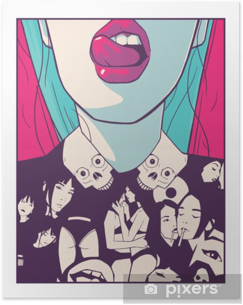 Poster Autoadesivo Illustrazione di progettazione di stampa t-shirt di ragazza attraente nel disegno di stile di fumetti - Stili di vita