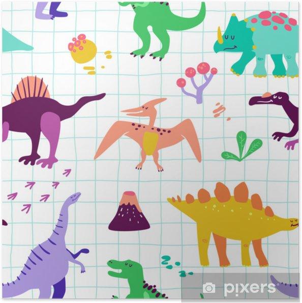 Poster Autoadesivo Modello di dinosauri simpatico cartone animato senza soluzione di continuità. vector baby Dino texture di sfondo. sfondo per tessile, tessuto, stampa di carta da parati - Animali