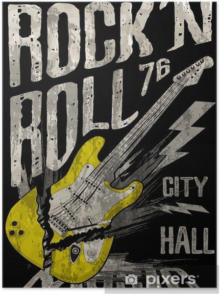 Poster Autoadesivo Rock'n roll poster chitarra graphic design tee art - Risorse Grafiche