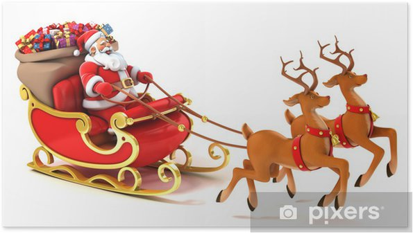 Immagini Babbo Natale Con Slitta.Poster Babbo Natale Con Slitta Cervi E Regali Di Natale