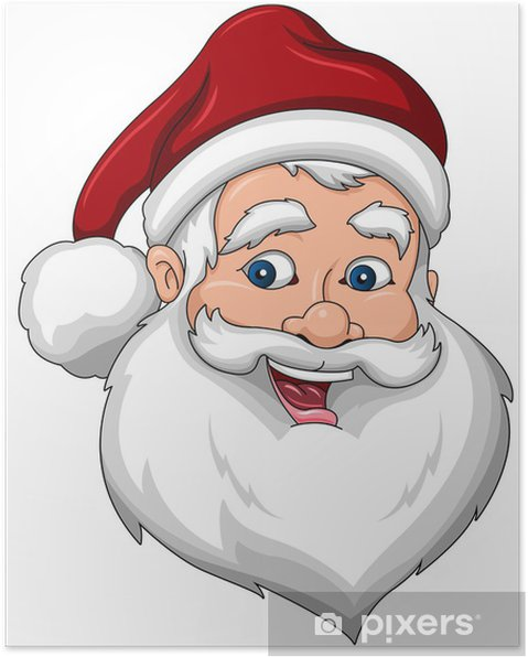 Poster Babbo Natale felice Viso Vista laterale - Feste Internazionali