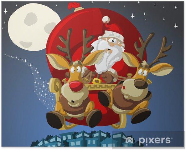 Babbo Natale Con Le Renne Immagini.Poster Babbo Natale Su Slitta Con Renne