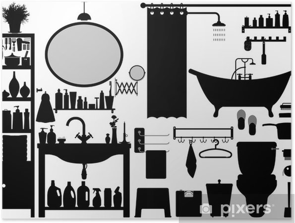 Poster Badezimmer WC Design Set Vector