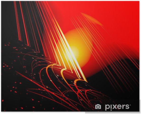 Poster Bagliore Giallo Su Sfondo Rosso Nero Pixers Viviamo Per