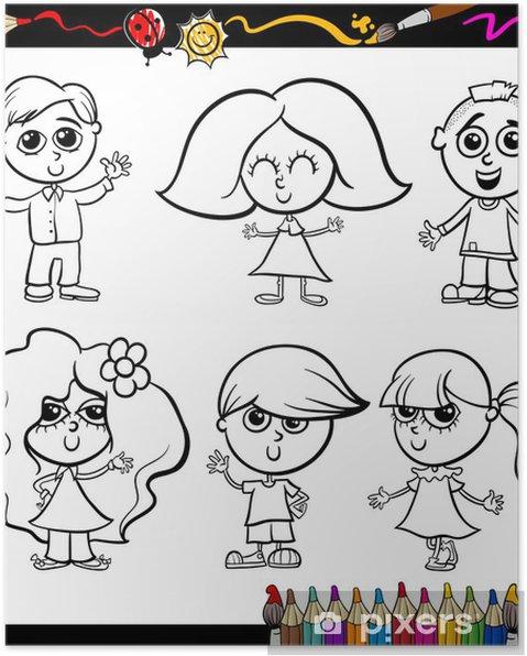 Poster Bambini Del Fumetto Fissato Per Libro Da Colorare
