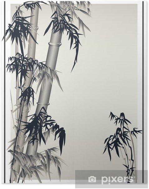Poster Bambus-Vektor in der traditionellen asiatischen Stil. - Hintergründe