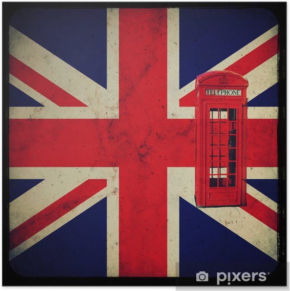 Poster Bandiera Inglese Con Cabina Telefonica Rossa Pixers