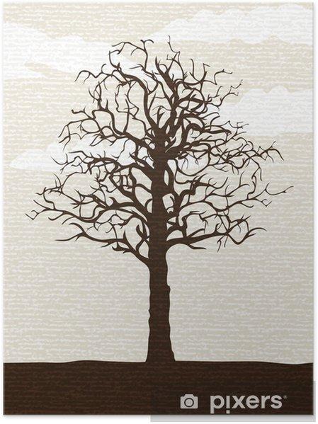 Poster Bare Einsamer Baum Auf Grob Strukturiertem Papier Gemalt