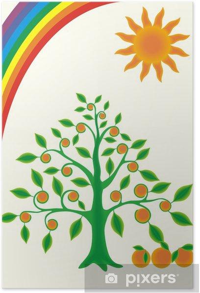 Poster Baum Orange - Fröhlichkeit