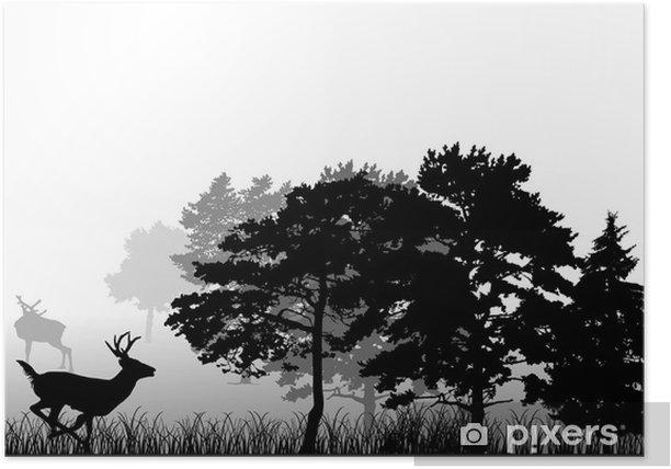 Poster Bäume und laufen Hirsche Silhouette - Säugetiere