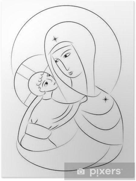 Poster Beata Vergine Maria Madonna Col Bambino Icona Disegno