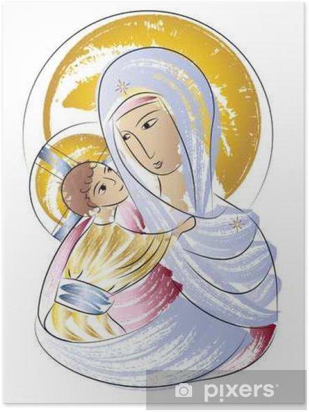 Poster Beata Vergine Maria Madonna Con Licona Del Bambino Colore